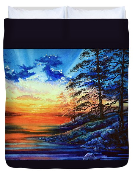 Glorious Lake Sunset Duvet Cover by Hanne Lore Koehler