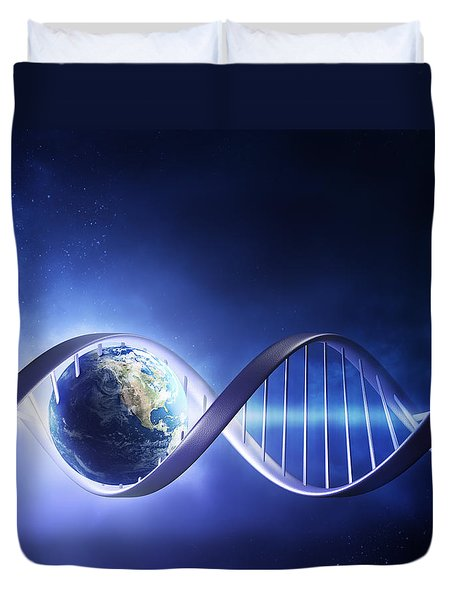 Glowing earth DNA strand Duvet Cover by Johan Swanepoel