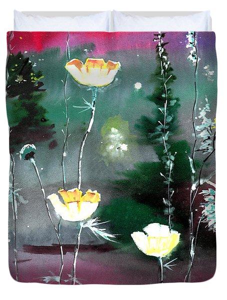 Glowing Flowers Duvet Cover by Anil Nene