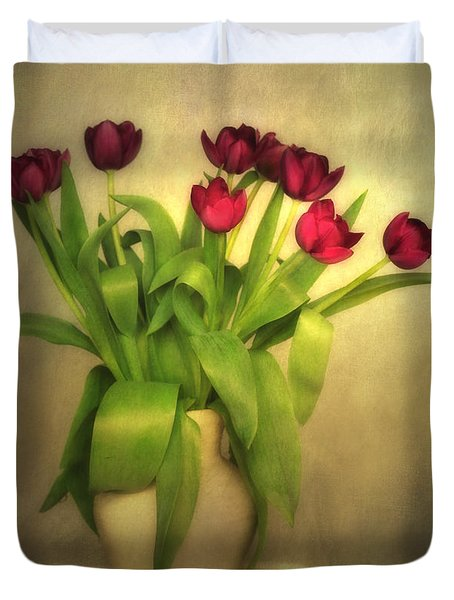 Glowing Tulips Duvet Cover by Annie Snel