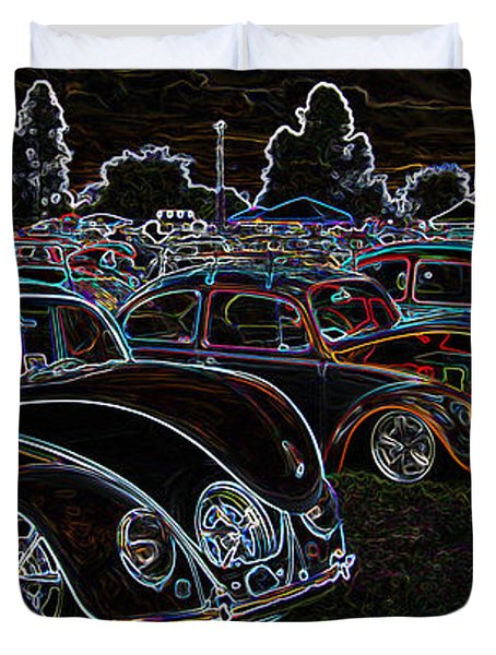 Glowing Vw Beetles Duvet Cover by Steve McKinzie