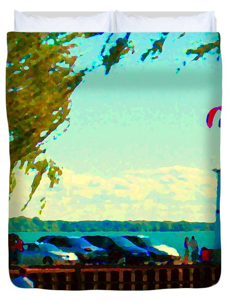 Go Fly A Kite Off A Short Pier Lachine Lighthouse Summer Scene Carole Spandau Montreal Art  Duvet Cover by Carole Spandau