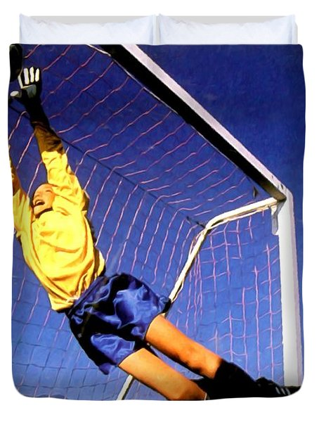 Goalkeeper Catches The Ball Duvet Cover by Lanjee Chee