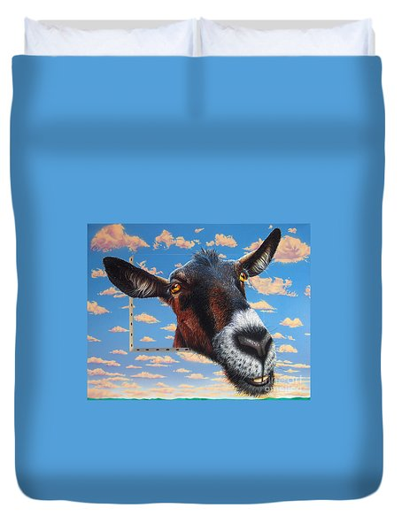 Goat a la Magritte Duvet Cover by Jurek Zamoyski