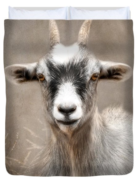 Goat Portrait Duvet Cover by Lori Deiter