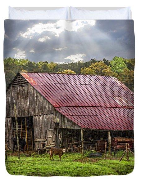 God Bless The Farmer Duvet Cover by Debra and Dave Vanderlaan