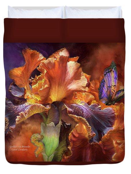 Goddess Of Miracles Duvet Cover by Carol Cavalaris