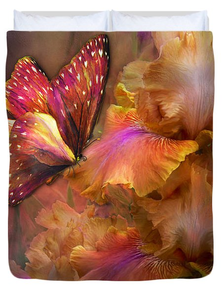 Goddess Of Sunrise Duvet Cover by Carol Cavalaris