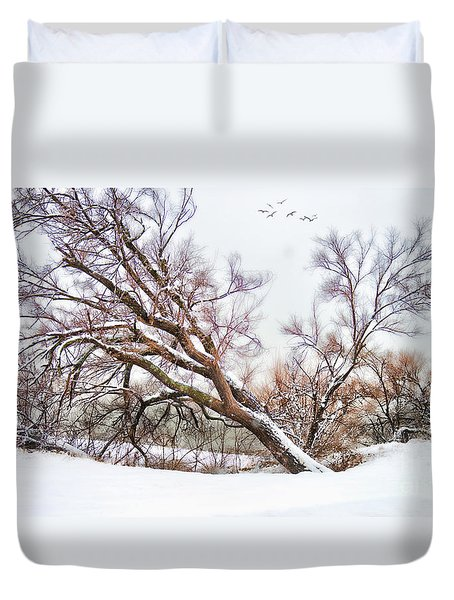 Going Softly Into Winter Duvet Cover by Betty LaRue
