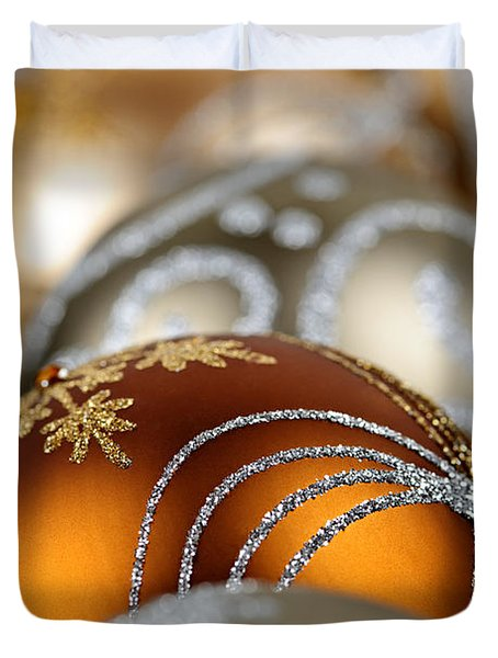 Gold Christmas ornaments Duvet Cover by Elena Elisseeva