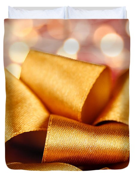 Gold gift bow with festive lights Duvet Cover by Elena Elisseeva