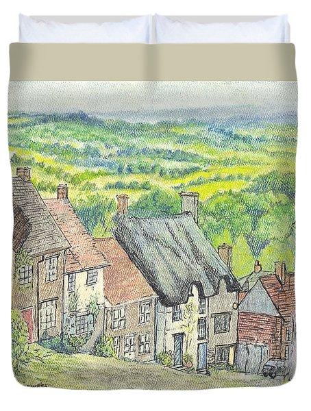 Gold Hill Shaftesbury Dorset England Duvet Cover by Carol Wisniewski