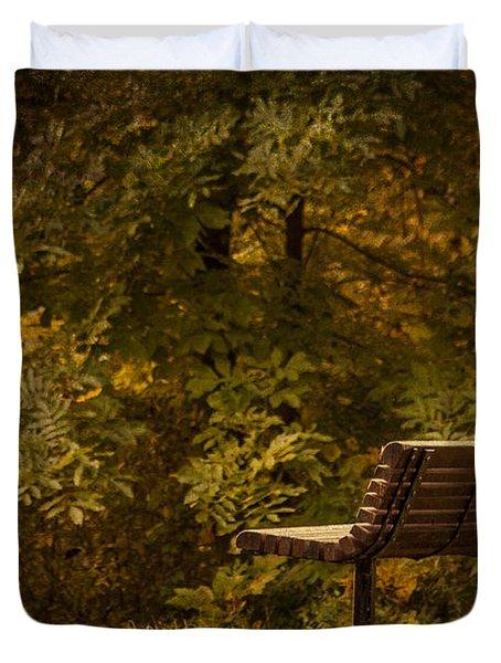 Golden Autumn Solitude Duvet Cover by Janice Rae Pariza