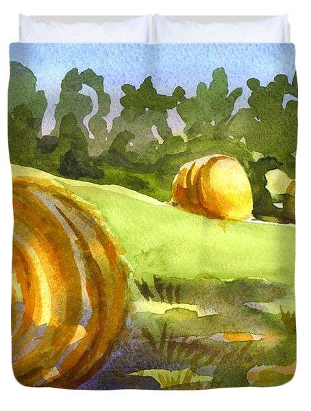 Golden Bales In The Morning Duvet Cover by Kip DeVore