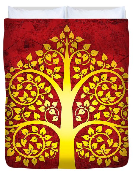 Golden Bodhi Tree No.1 Duvet Cover by Bobbi Freelance