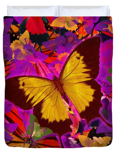 Golden Butterfly Painting Duvet Cover by Alixandra Mullins