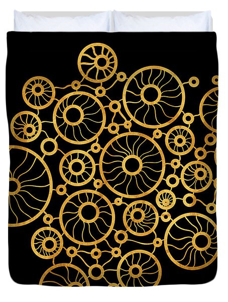 Golden Circles Black Duvet Cover by Frank Tschakert