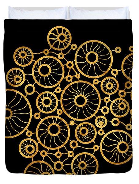 Golden Circles Black Duvet Cover by Frank Tschakert