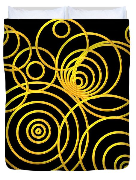 Golden Circles Optical Illusion Duvet Cover by Rose Santuci-Sofranko