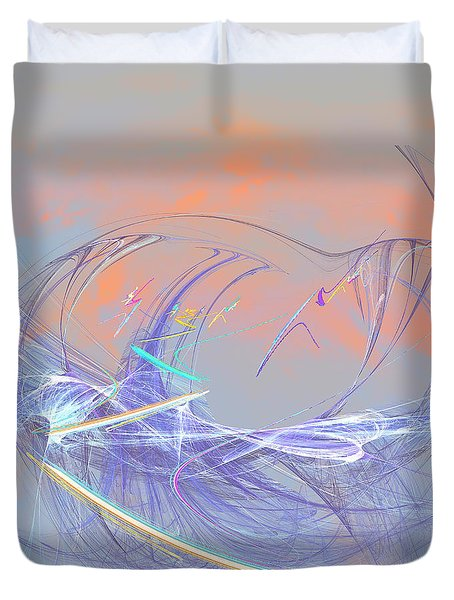 Golden Day Skiers Duvet Cover by Angela A Stanton
