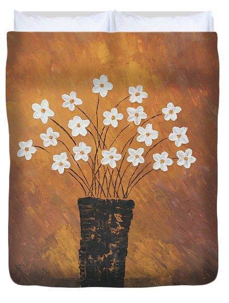 Golden Flowers Duvet Cover by Home Art