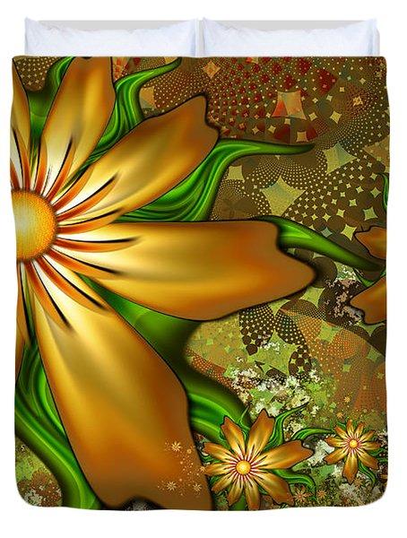 Golden Flowers Duvet Cover by Peggi Wolfe