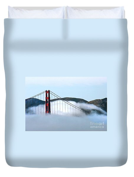 Golden Gate Bridge Clouds Duvet Cover by Tap On Photo