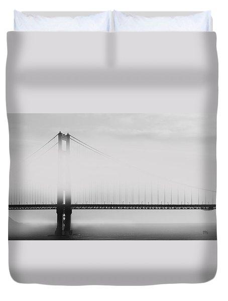 Golden Gate Bridge - Fog And Sun Duvet Cover by Ben and Raisa Gertsberg