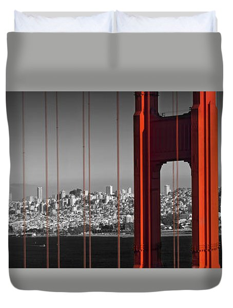 Golden Gate Bridge Panoramic Downtown View Duvet Cover by Melanie Viola