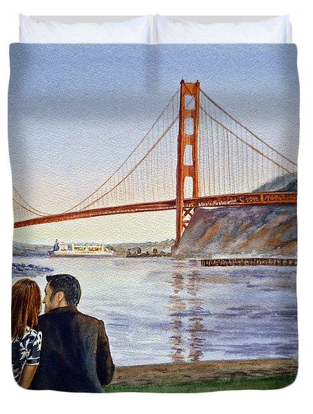 Golden Gate Bridge San Francisco - Two Love Birds Duvet Cover by Irina Sztukowski