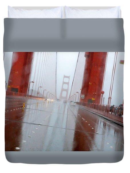 Golden Gate Rain Duvet Cover by Daniel Furon