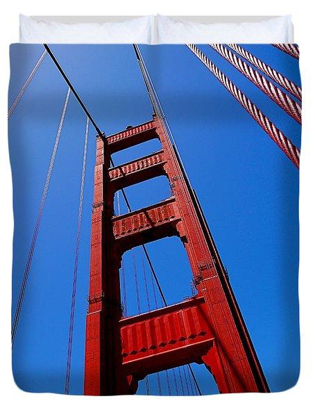 Golden Gate Tower Duvet Cover by Rona Black