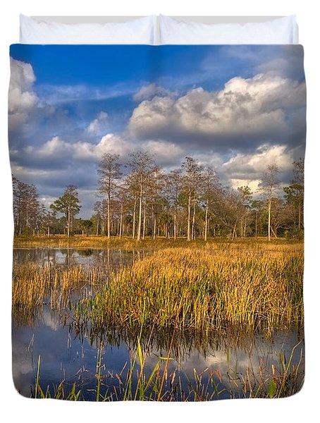 Golden Grasses Duvet Cover by Debra and Dave Vanderlaan