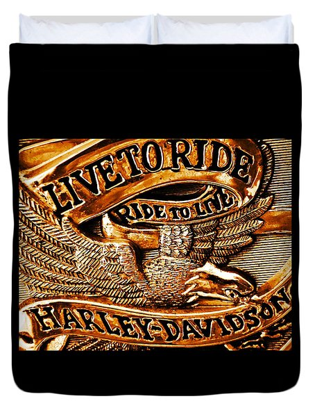 Golden Harley Davidson Logo Duvet Cover by Chris Berry