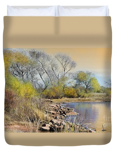 Golden Light Duvet Cover by Betty LaRue
