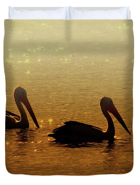 Golden Morning Duvet Cover by Mike  Dawson