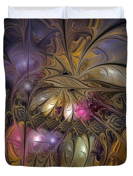 Golden Ornamentations-fractal Design Duvet Cover by Karin Kuhlmann