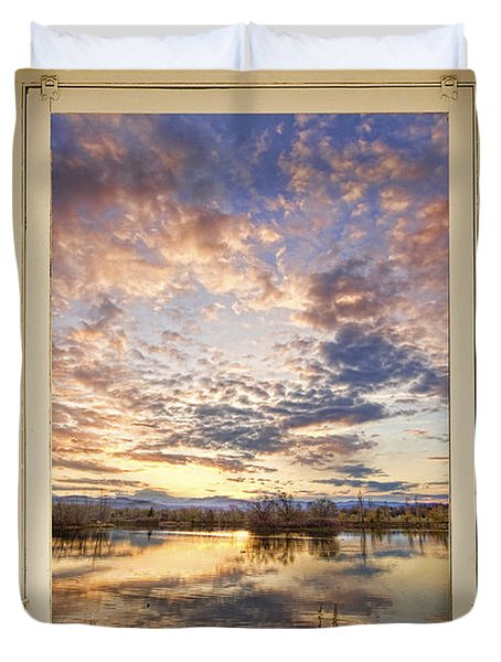 Golden Ponds Scenic Sunset Reflections 4 Yellow Window View Duvet Cover by James BO  Insogna