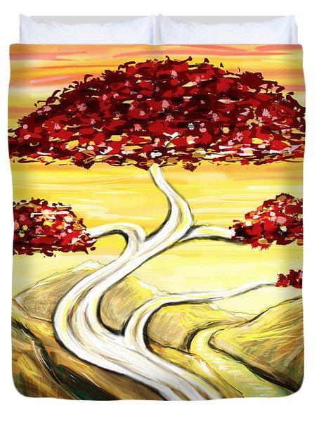 Golden Sunrise Duvet Cover by Shawna  Rowe