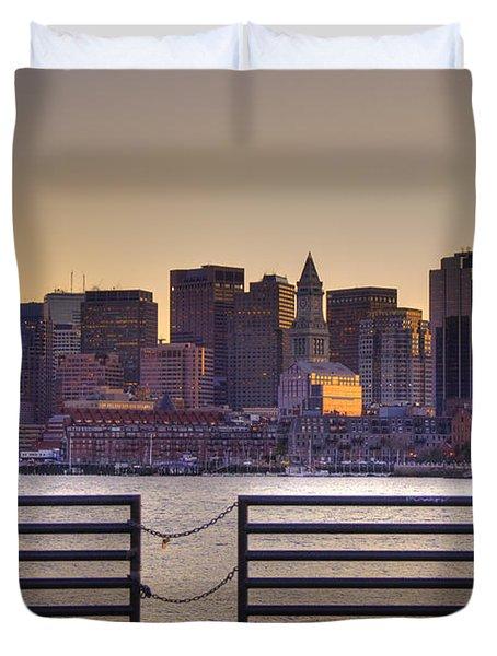 Golden Sunset Over Boston Duvet Cover by Joann Vitali