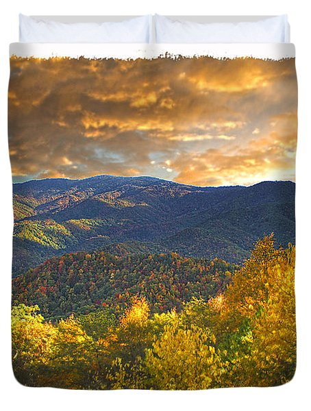 Golden Tipped Smokey's  Duvet Cover by Randall Branham