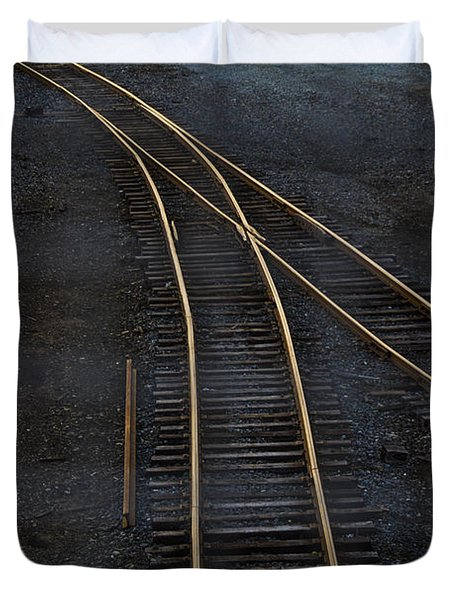 Golden Tracks Duvet Cover by Margie Hurwich