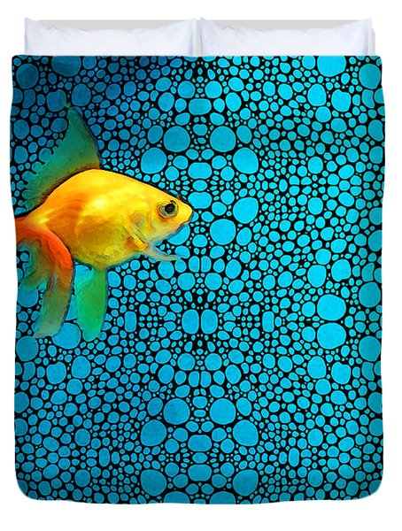 Goldfish Study 3 - Stone Rock'd Art By Sharon Cummings Duvet Cover by Sharon Cummings