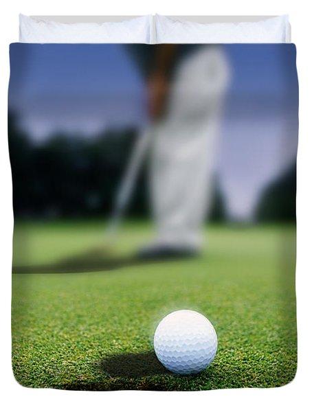 Golf Ball Near Cup Duvet Cover by Darren Greenwood