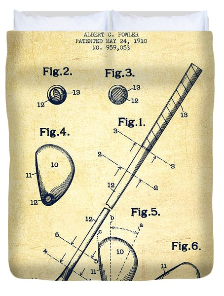 Golf Club Patent Drawing From 1910 - Vintage Duvet Cover by Aged Pixel