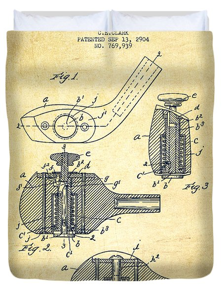 Golf Clubs Patent Drawing From 1904 - Vintage Duvet Cover by Aged Pixel