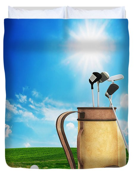 Golf Equipment And Ball On Golf Course Duvet Cover by Michal Bednarek