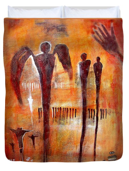 Golgotha Petroglyph Duvet Cover by Derrick Higgins