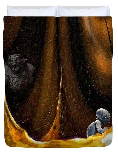 Gollum Shows the Way Duvet Cover by Steve Harrington