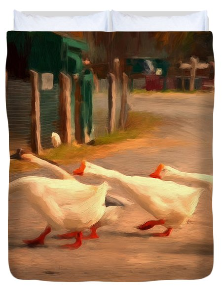 Goose Crossing Duvet Cover by Michael Pickett